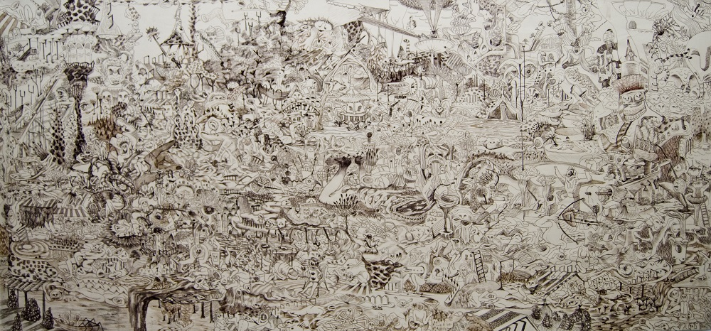 Journey to the British Museum, 2011,charcoal on canvas,157x330cm