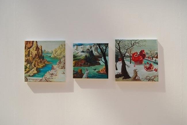 Hyunjeong Lim, Landscapes, oil, acrylic, chalk on canvas, 30x30-25x25-30x30cm, 2013